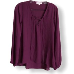 Eight Sixty Sheer Burgundy Tie Front Blouse